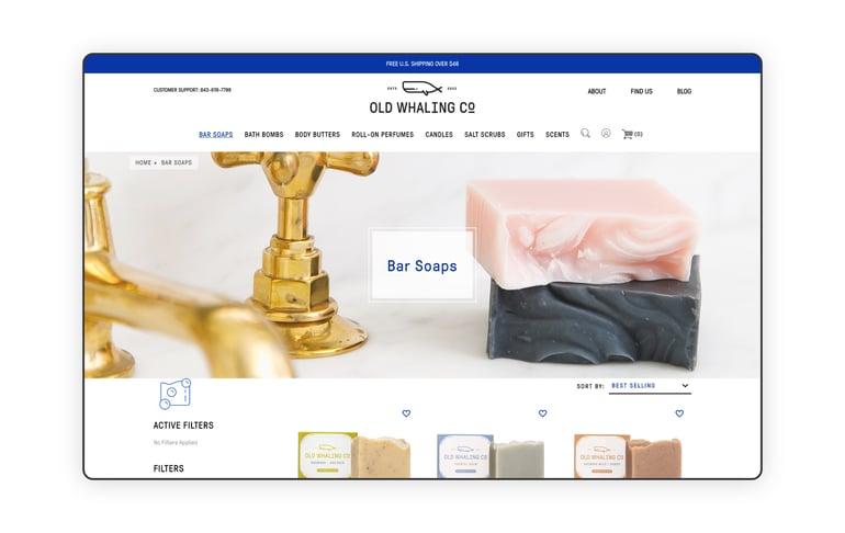 screenshot of Old Whaling Company homepage