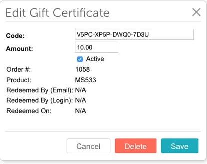 Miva edit gift certificat