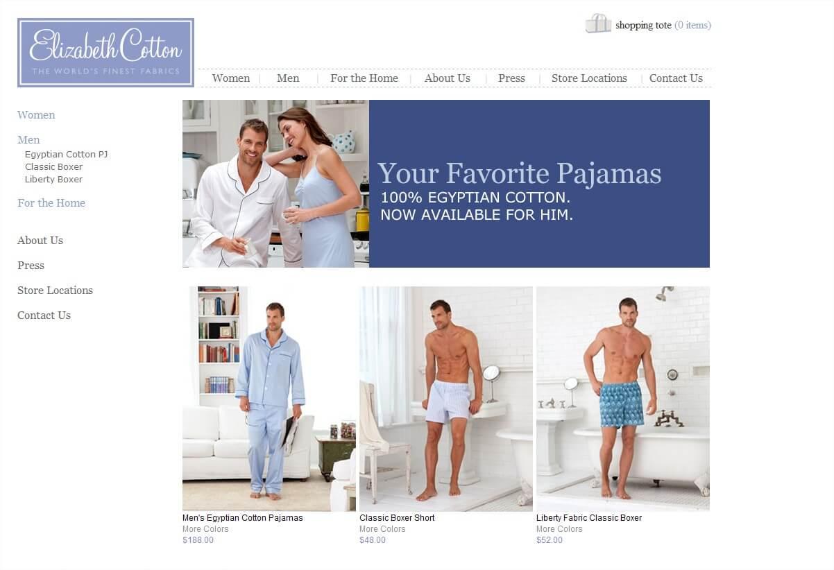 men's sleepwear from Elizabeth Cotton