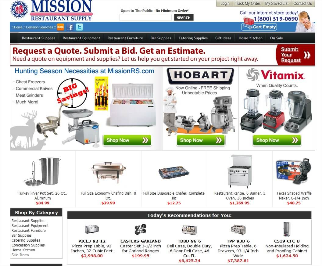 Homepage of Mission Restaurant Supply