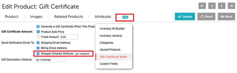 Miva gift certificate Sales-Tab