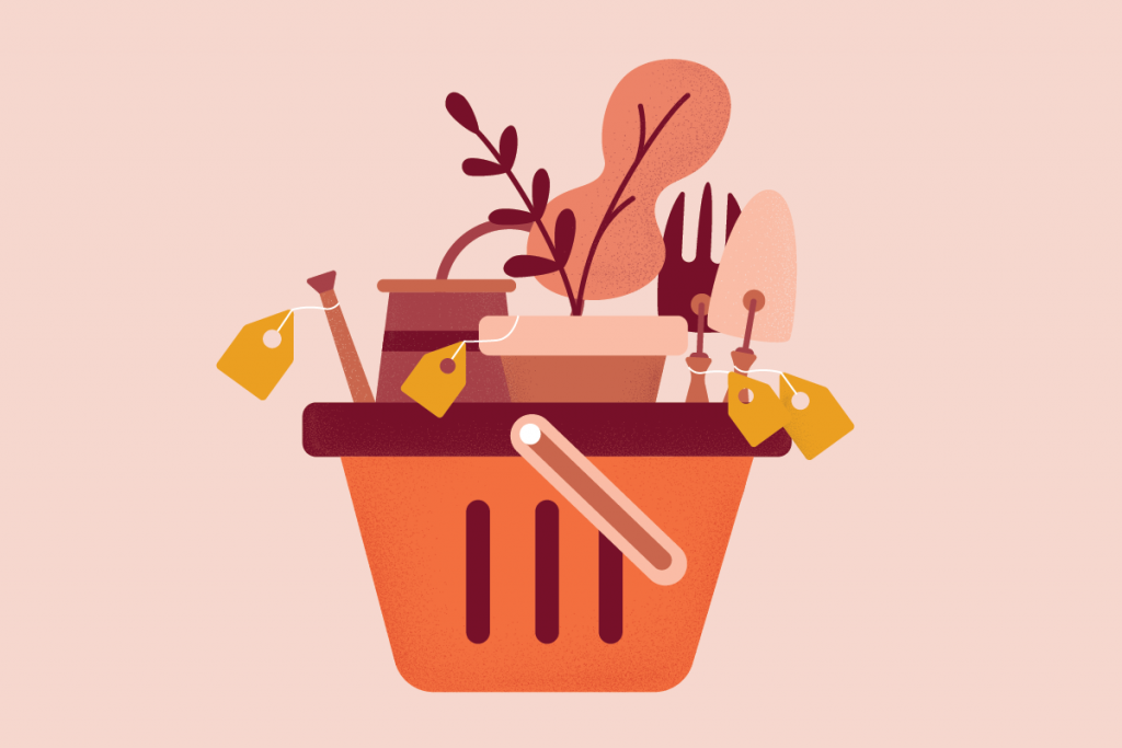 illustration of a shopping basket with garden supplies