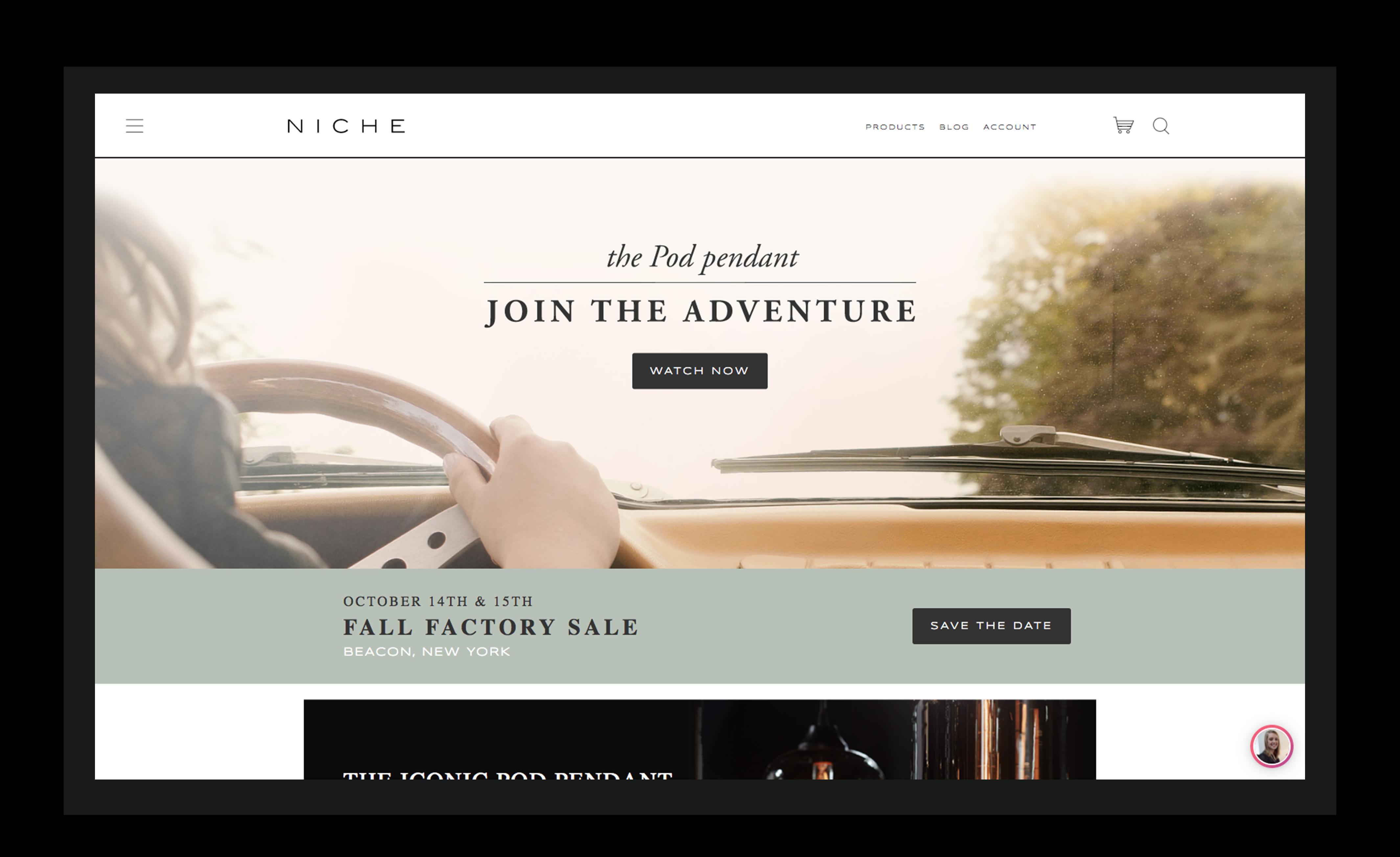 Website screenshot illustrating above the fold concept