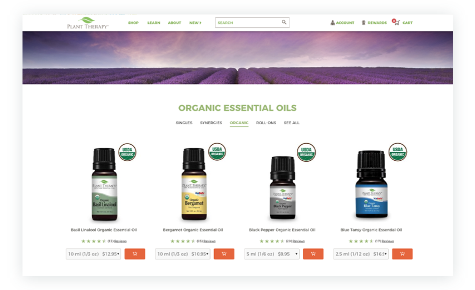 Certified Organic Essential Oils from PlantTherapy.com