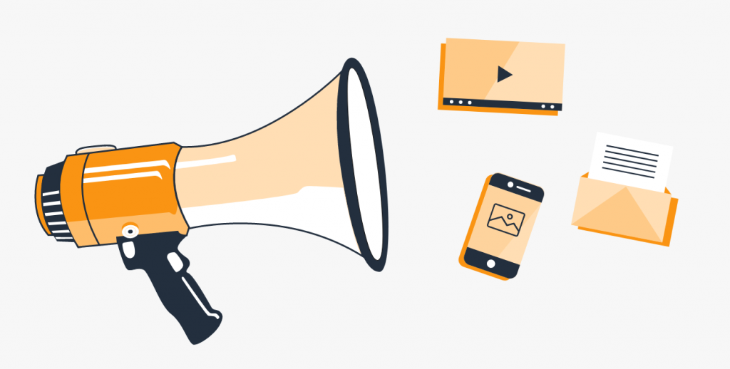illustration of a megaphone, phone, email, and video