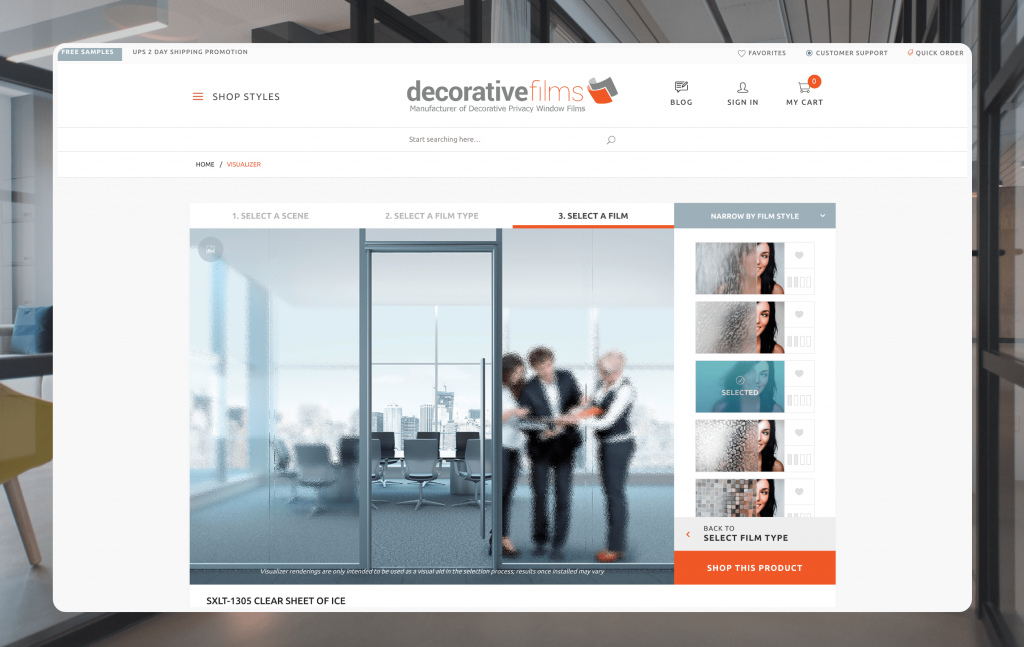 Decorative Film's website offers an engaging omnichannel experience.