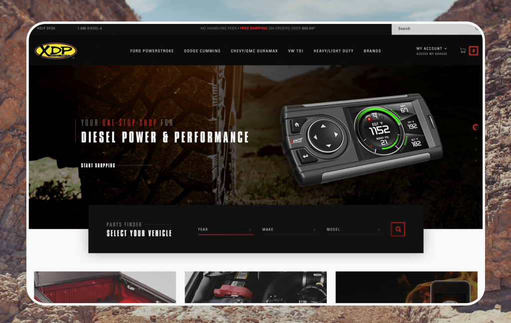 Xtreme Diesel Performance's website combines both B2B and B2C channels.