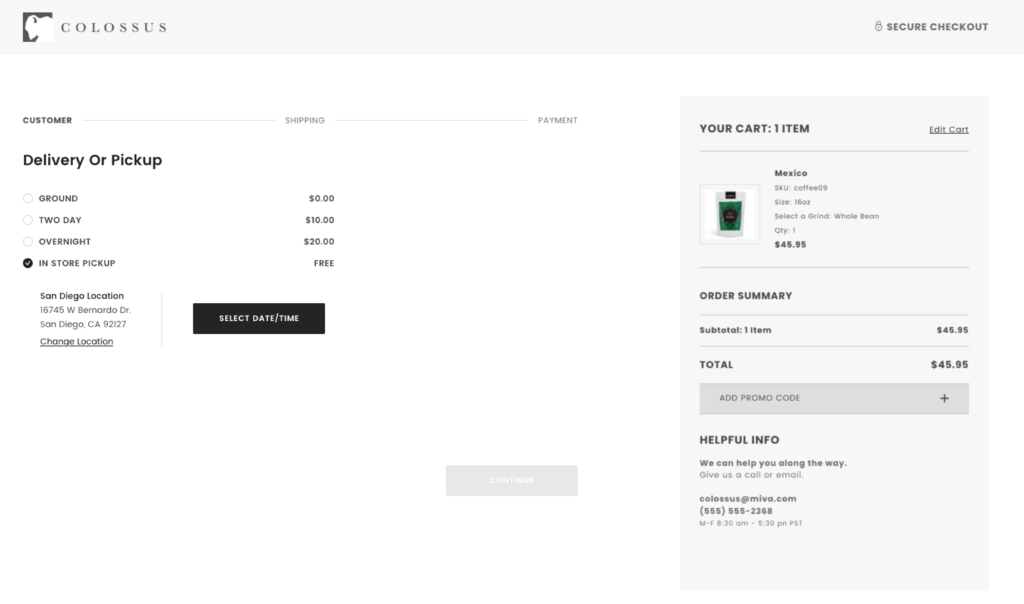 Delivery and pickup options during checkout