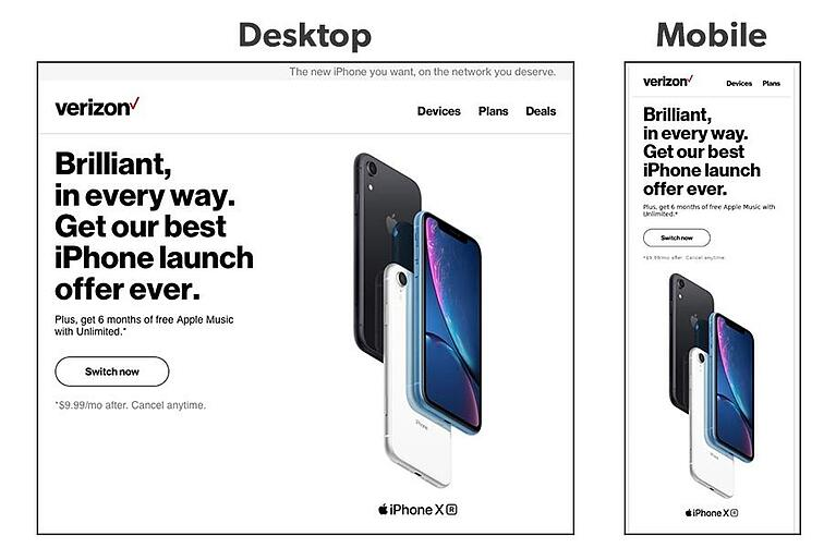 How Verizon uses email design in email marketing