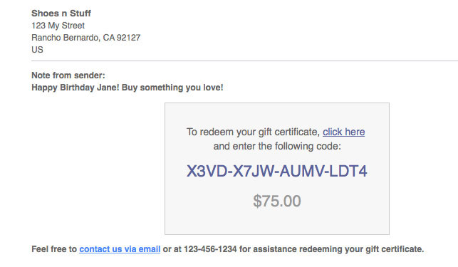 Miva gift certificate email