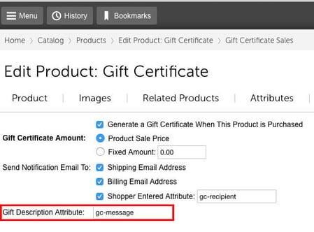 Miva gift certificate description attribute field
