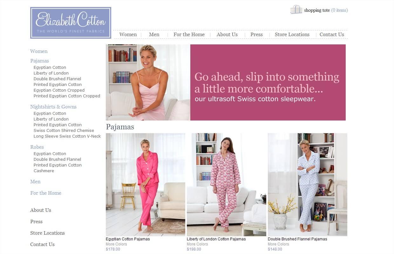 women's sleepwear from Elizabeth Cotton