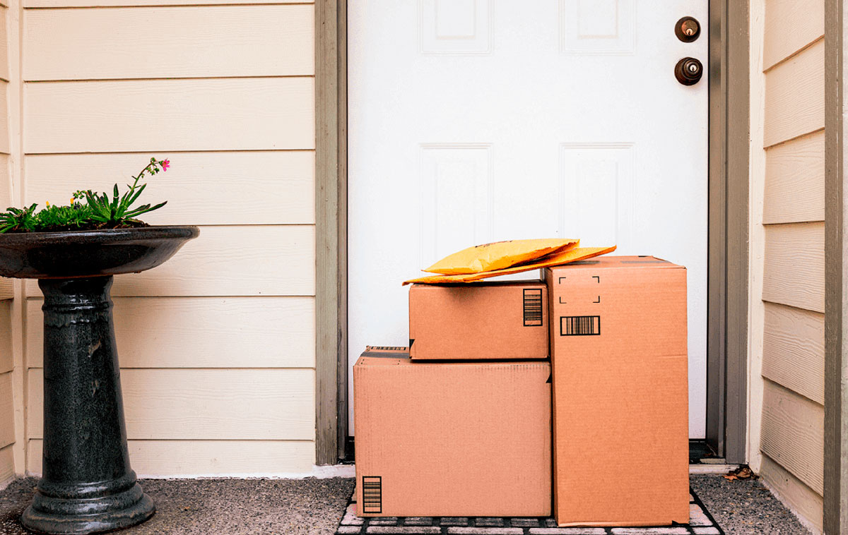 Photo of boxes and packages at the door