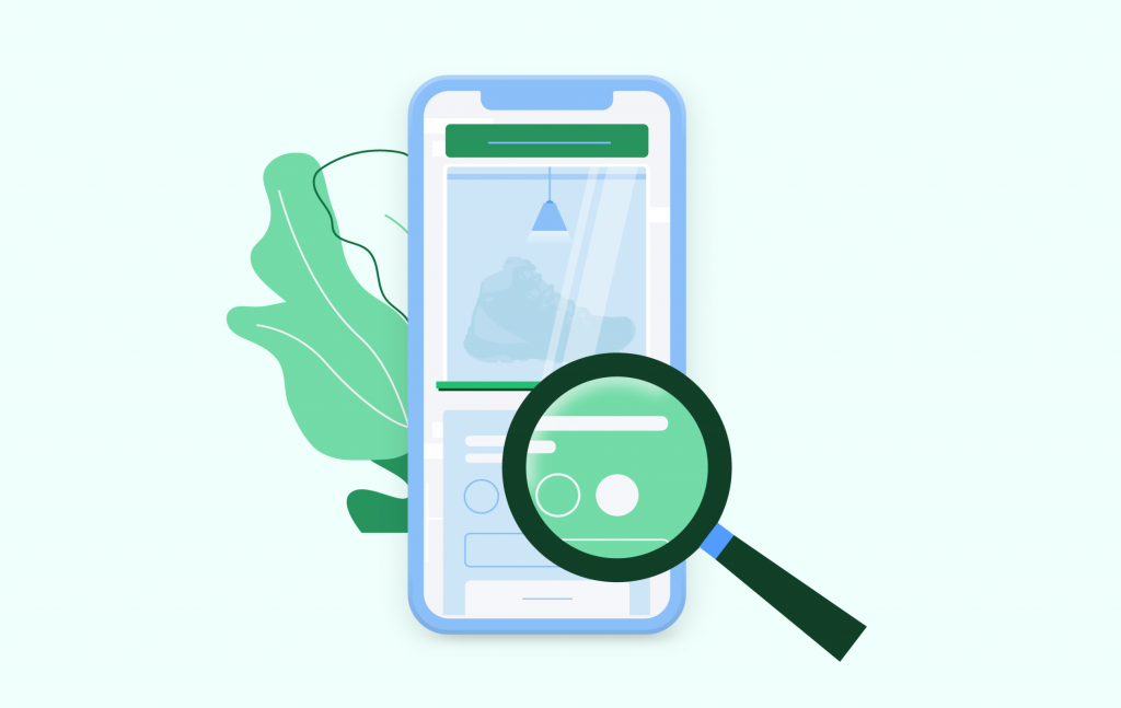 Illustration of magnifying glass looking at smartphone.