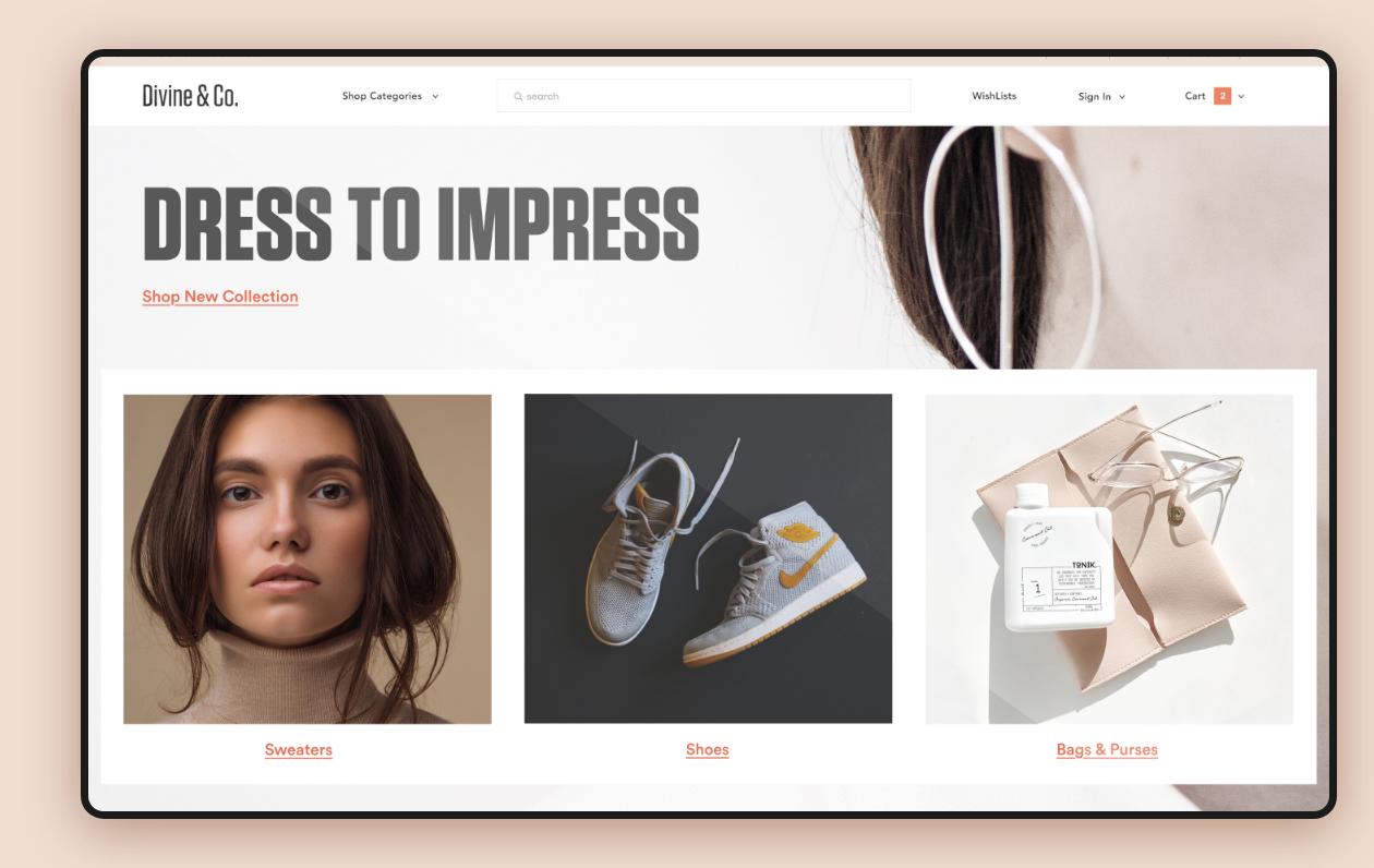 screenshot of online fashion store
