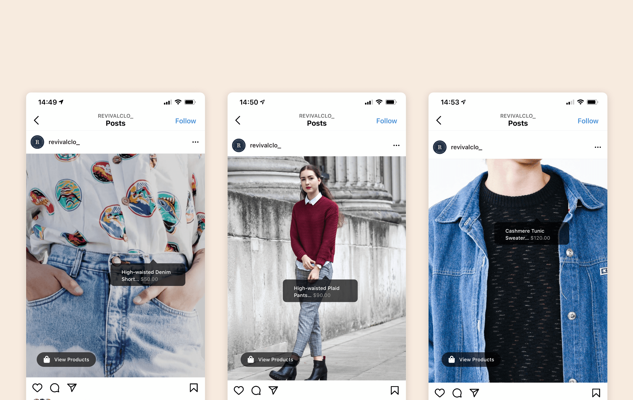 Screenshots of Instagram App and its ecommerce features