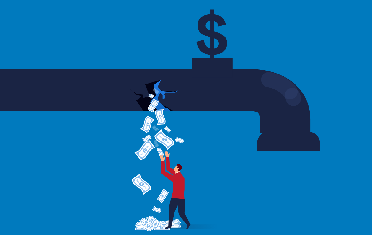 illustration of a faucet leaking money