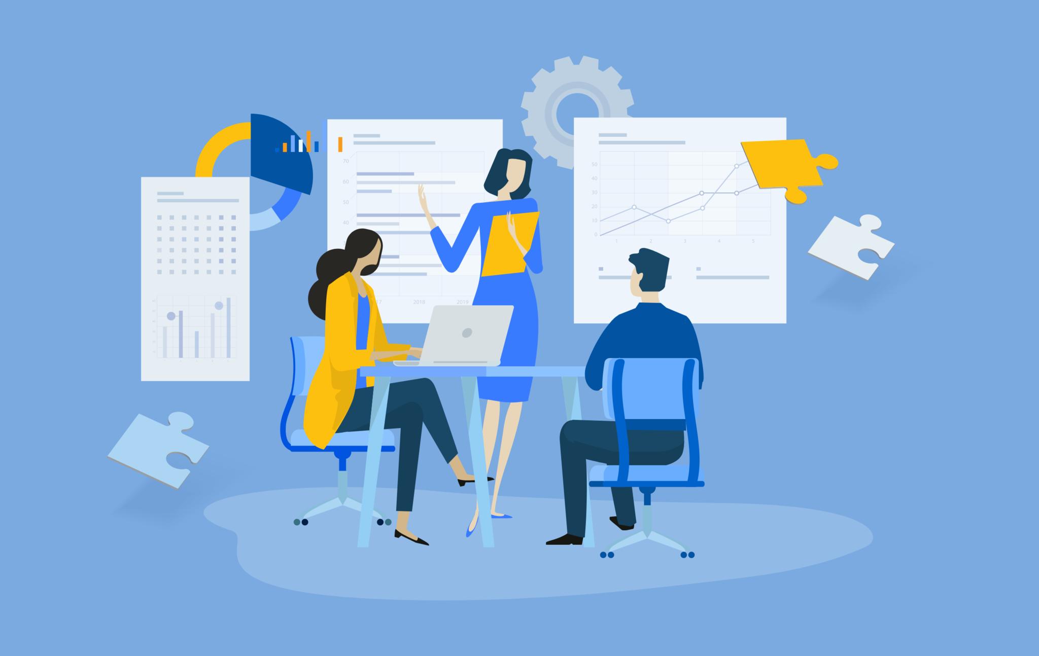 Illustration of an ecommerce marketing team