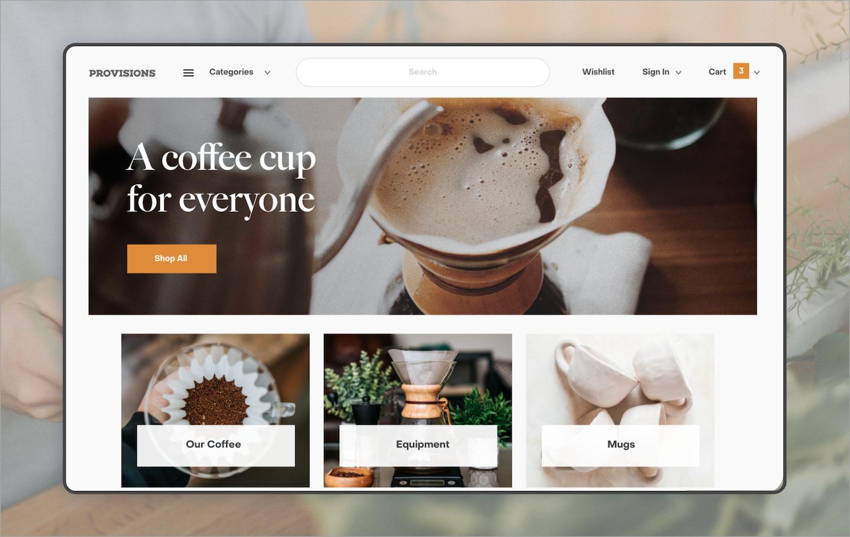 A screenshot of an ecommerce website that sells coffee