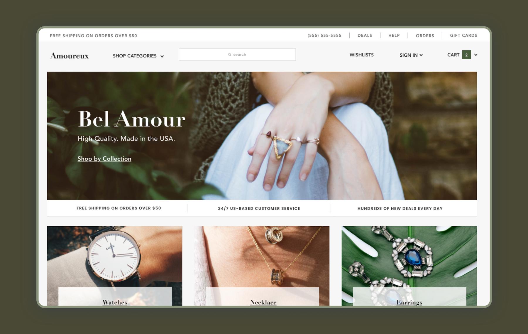 Screenshot of a jewelry ecommerce store