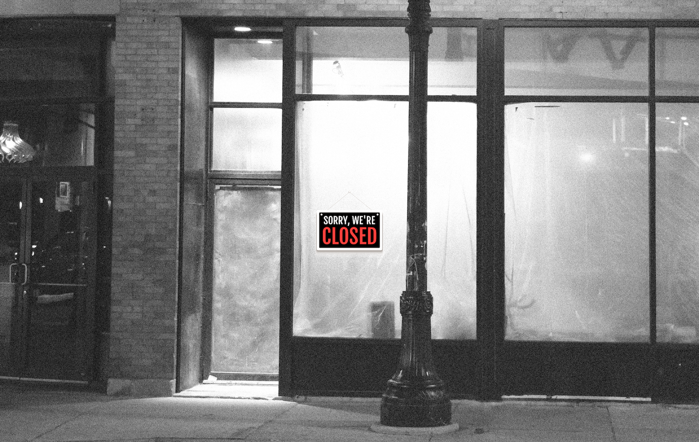 Monochrome photo of a closed store