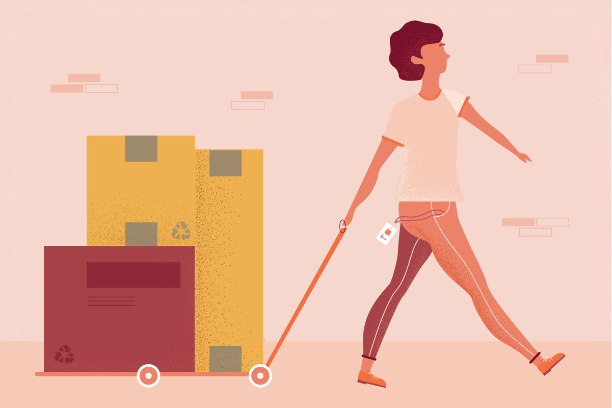 illustration of a person transporting packages