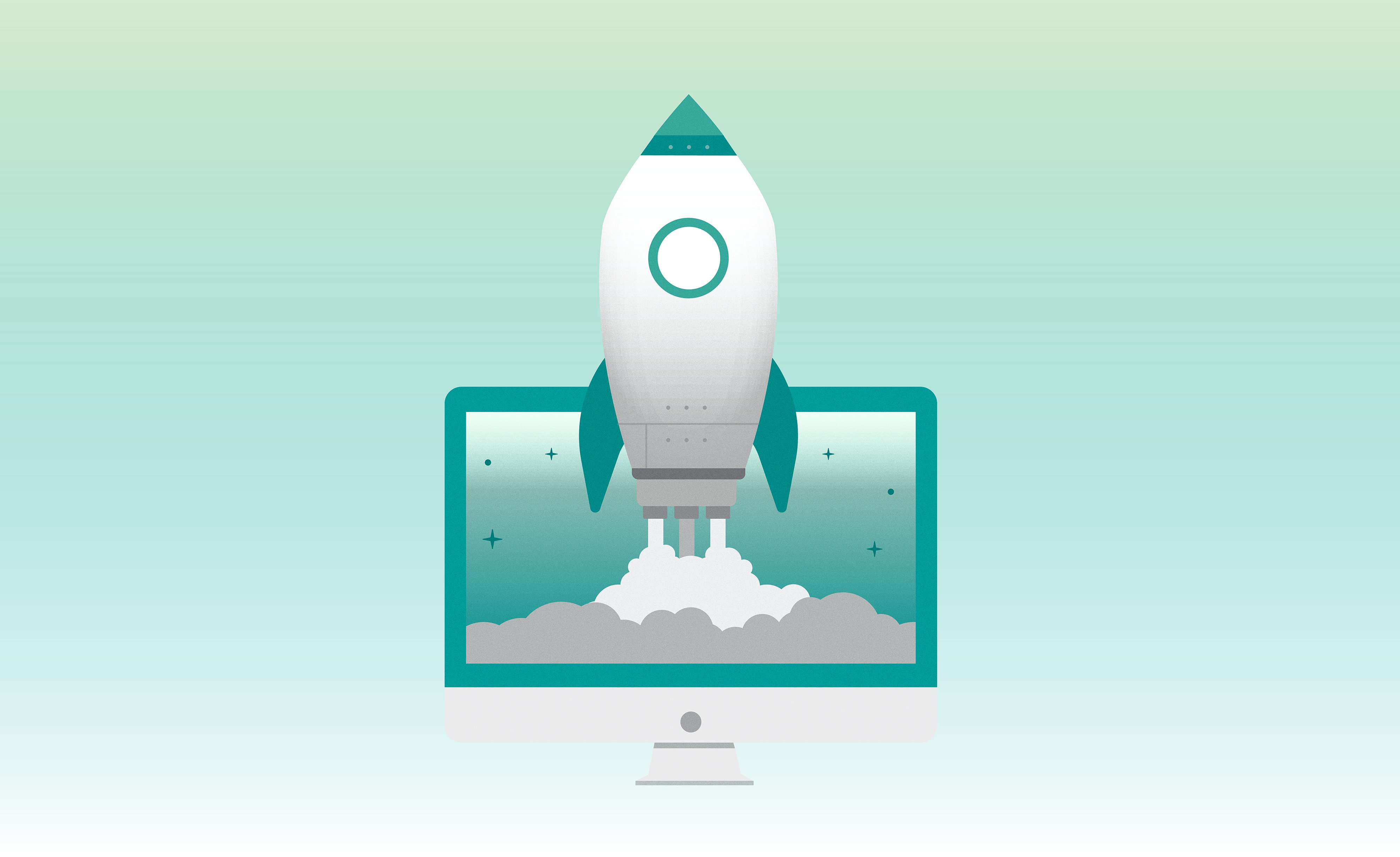 Illustration of a rocket ship blasting off out of computer screen