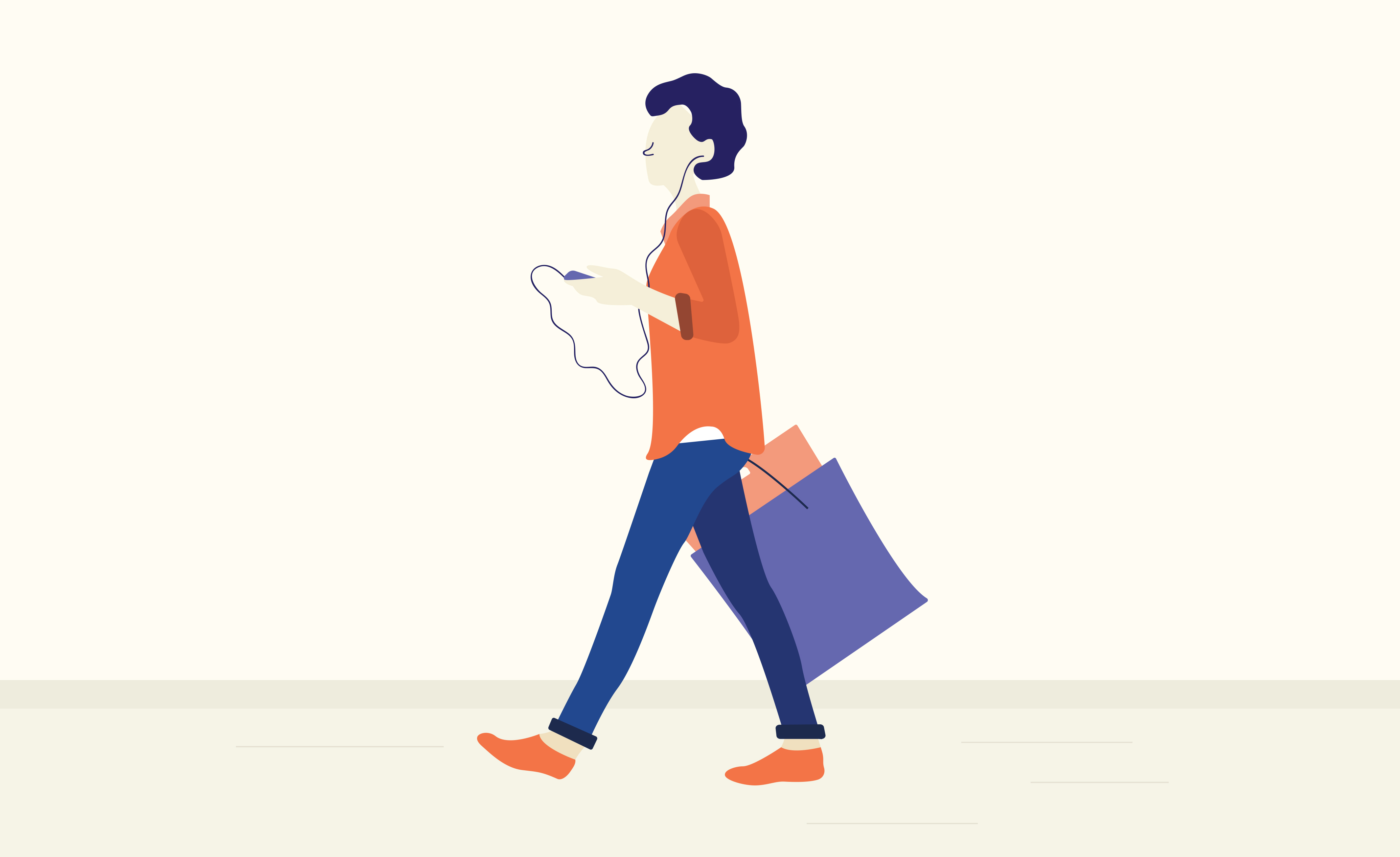 Illustration of person walking with shopping bag