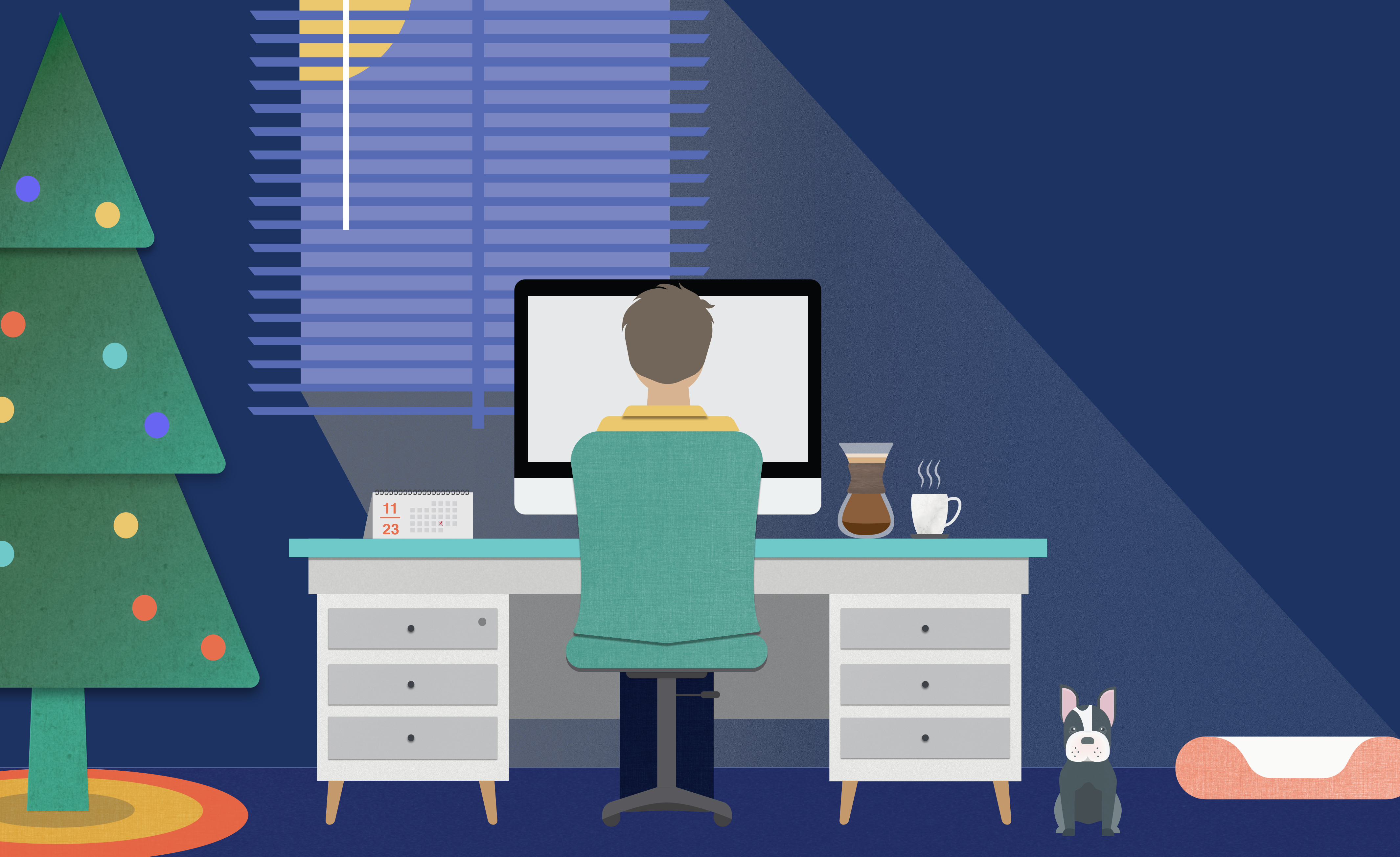Illustration of a person sitting in their room at the computer
