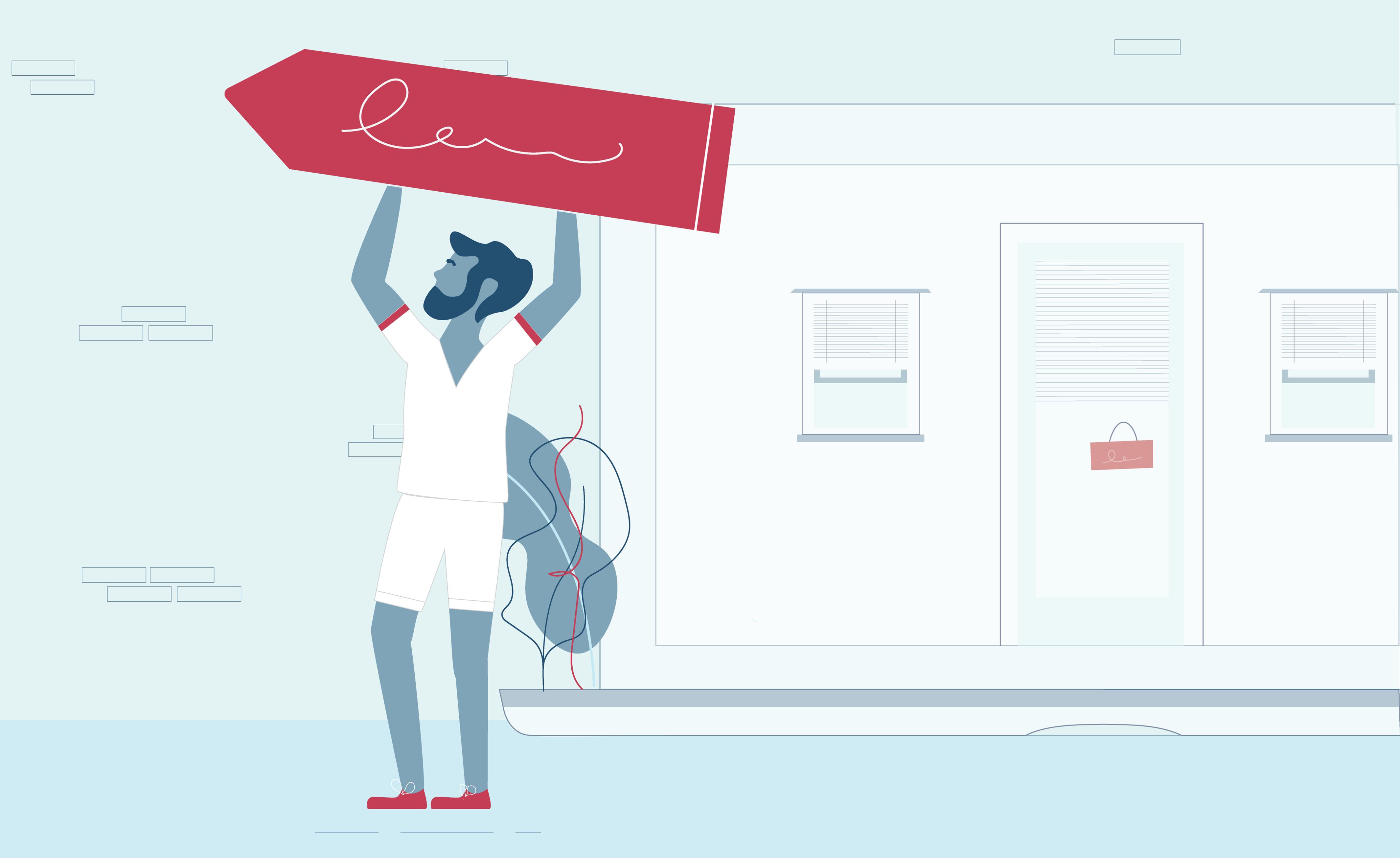 Illustration of man advertising website