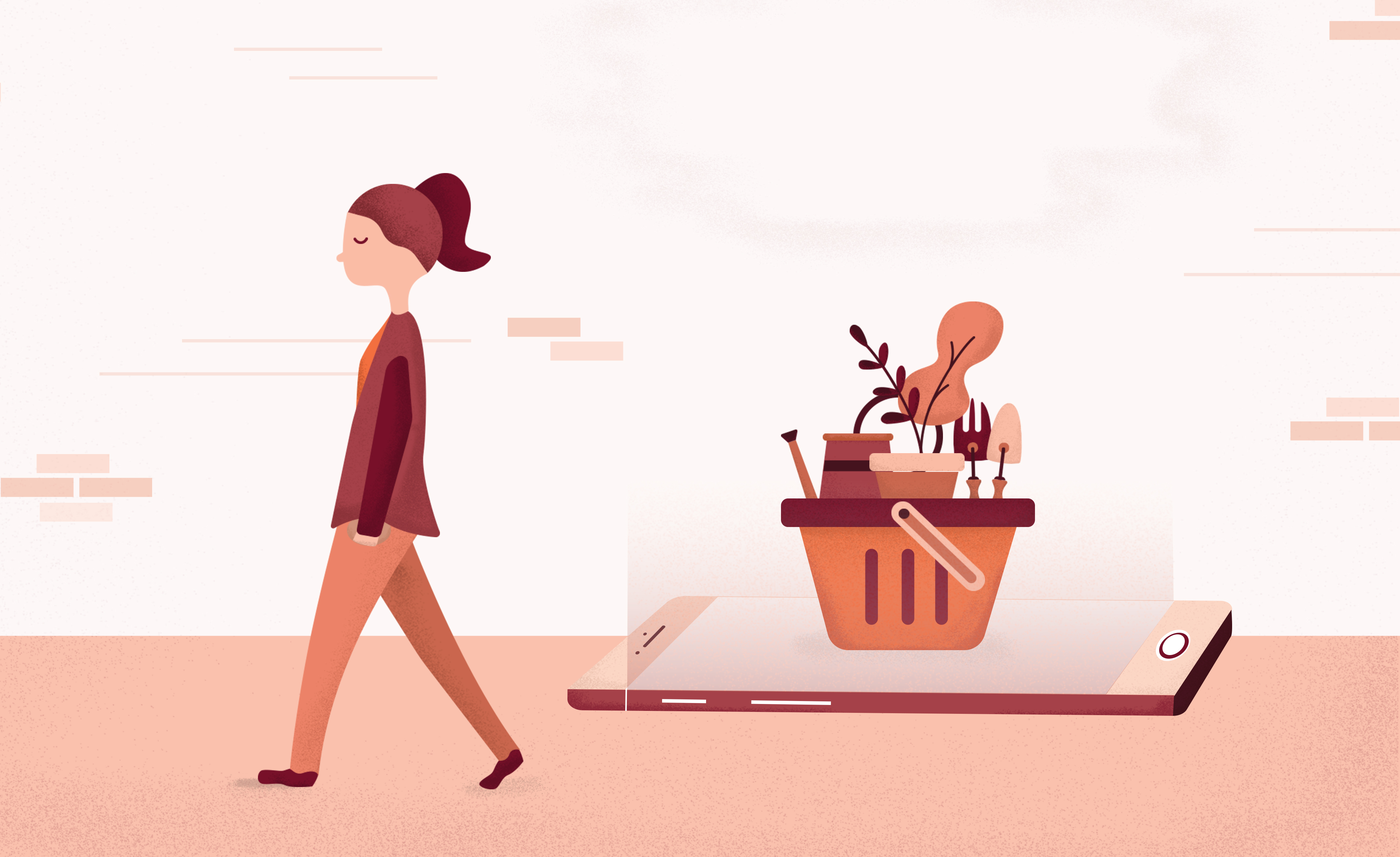 Illustration of shopper walking away from basket on ecommerce site