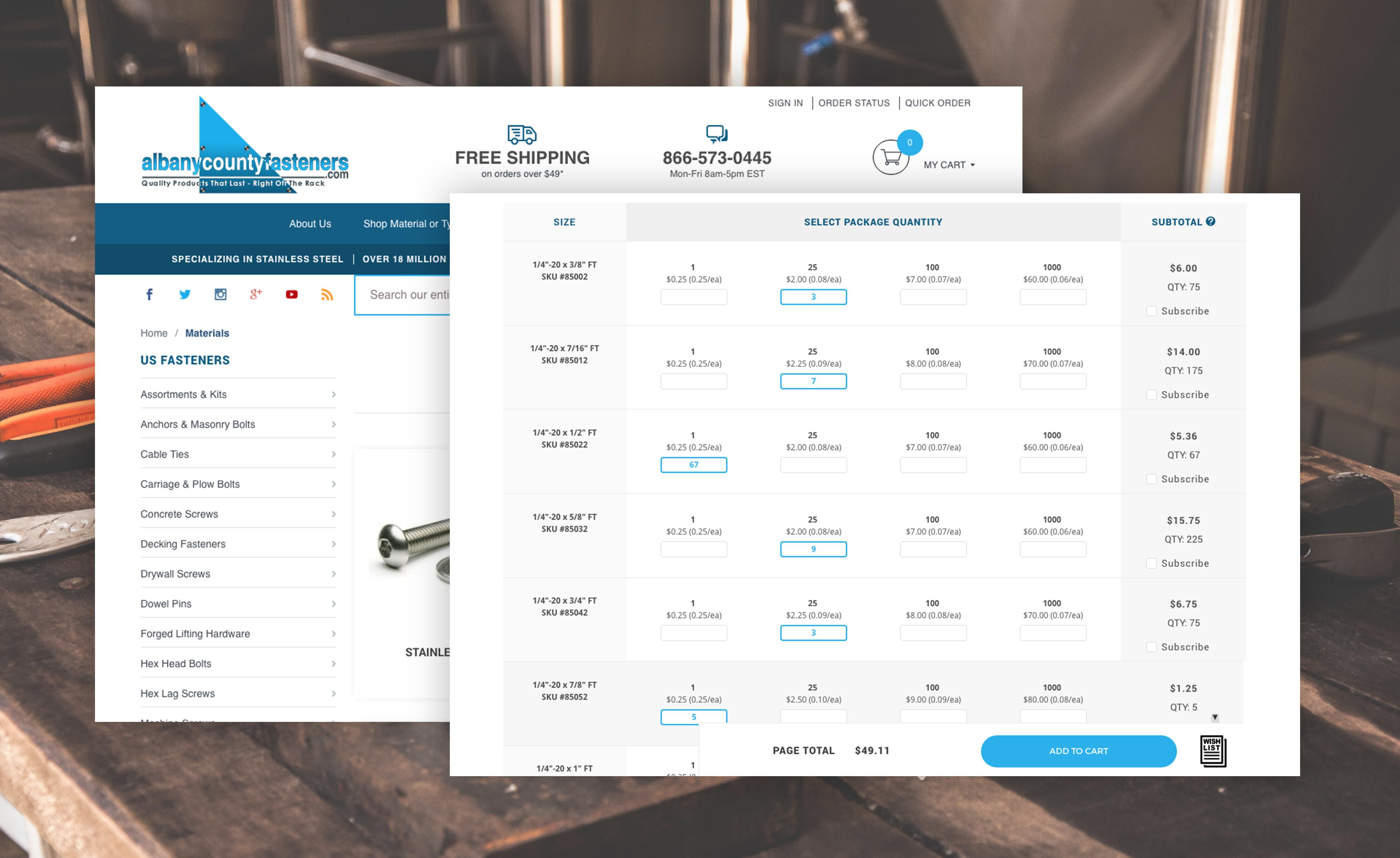 Miva B2B ecommerce website sample