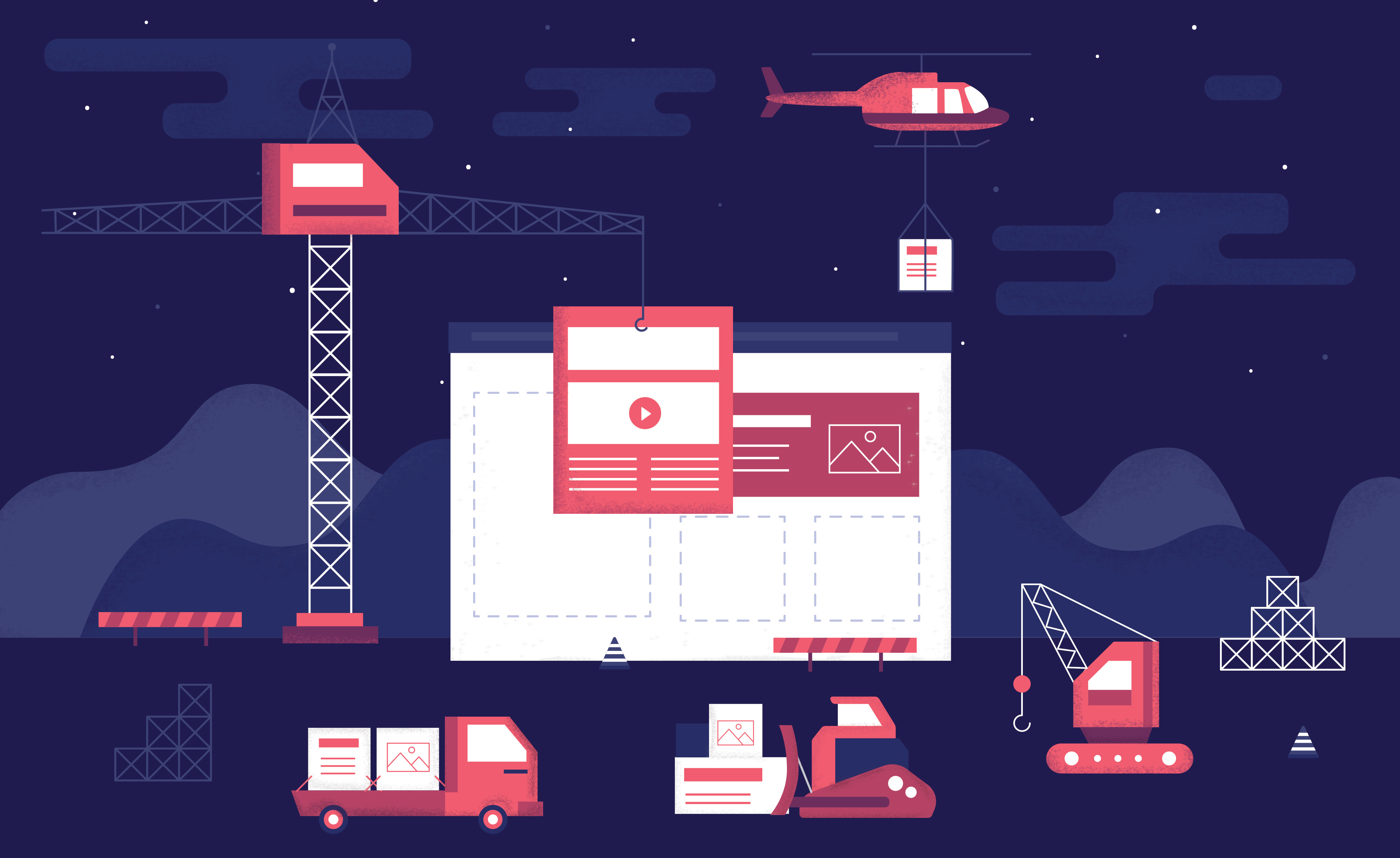 Illustration of construction machines building an ecommerce website