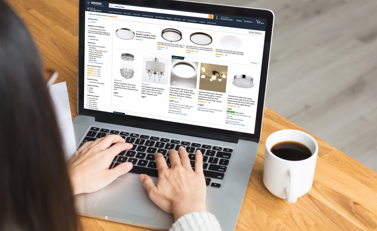Woman making a purchase on Amazon