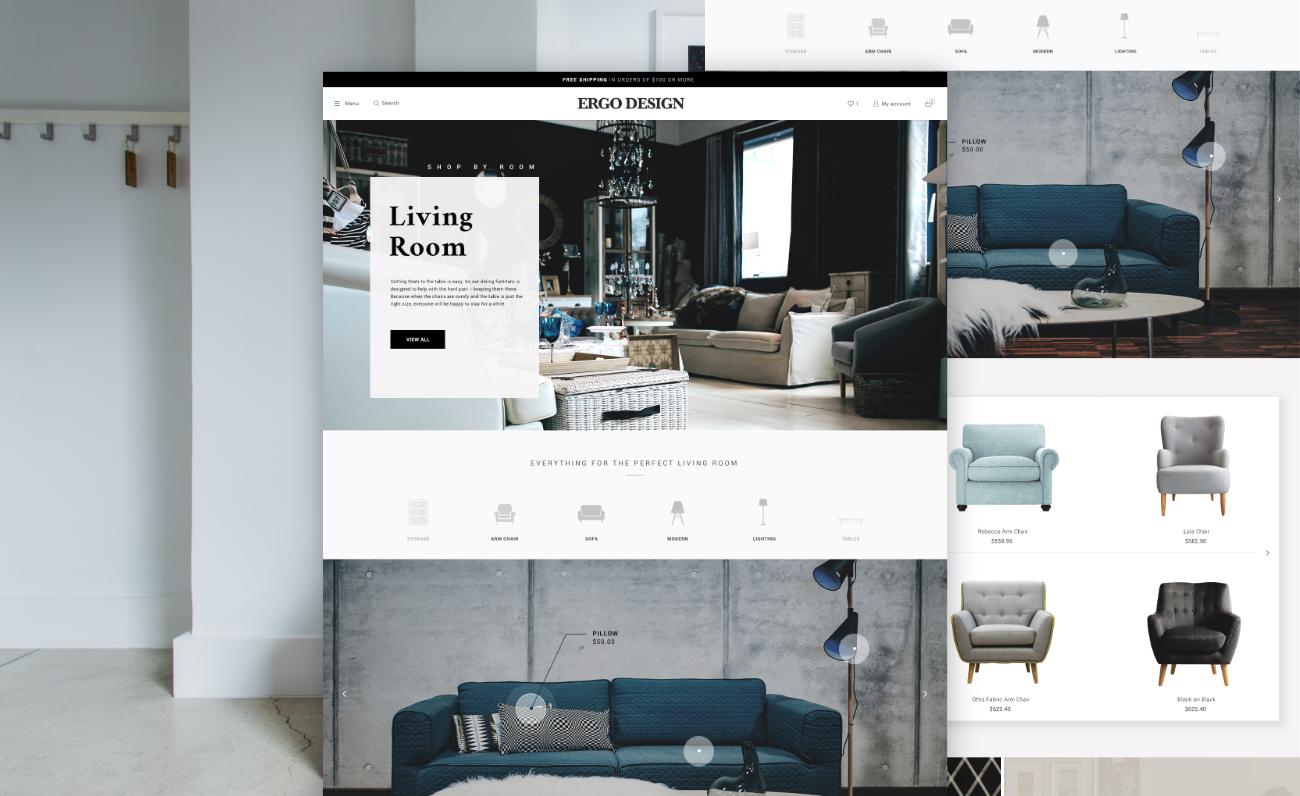 Screenshots of a B2B website that sells furniture