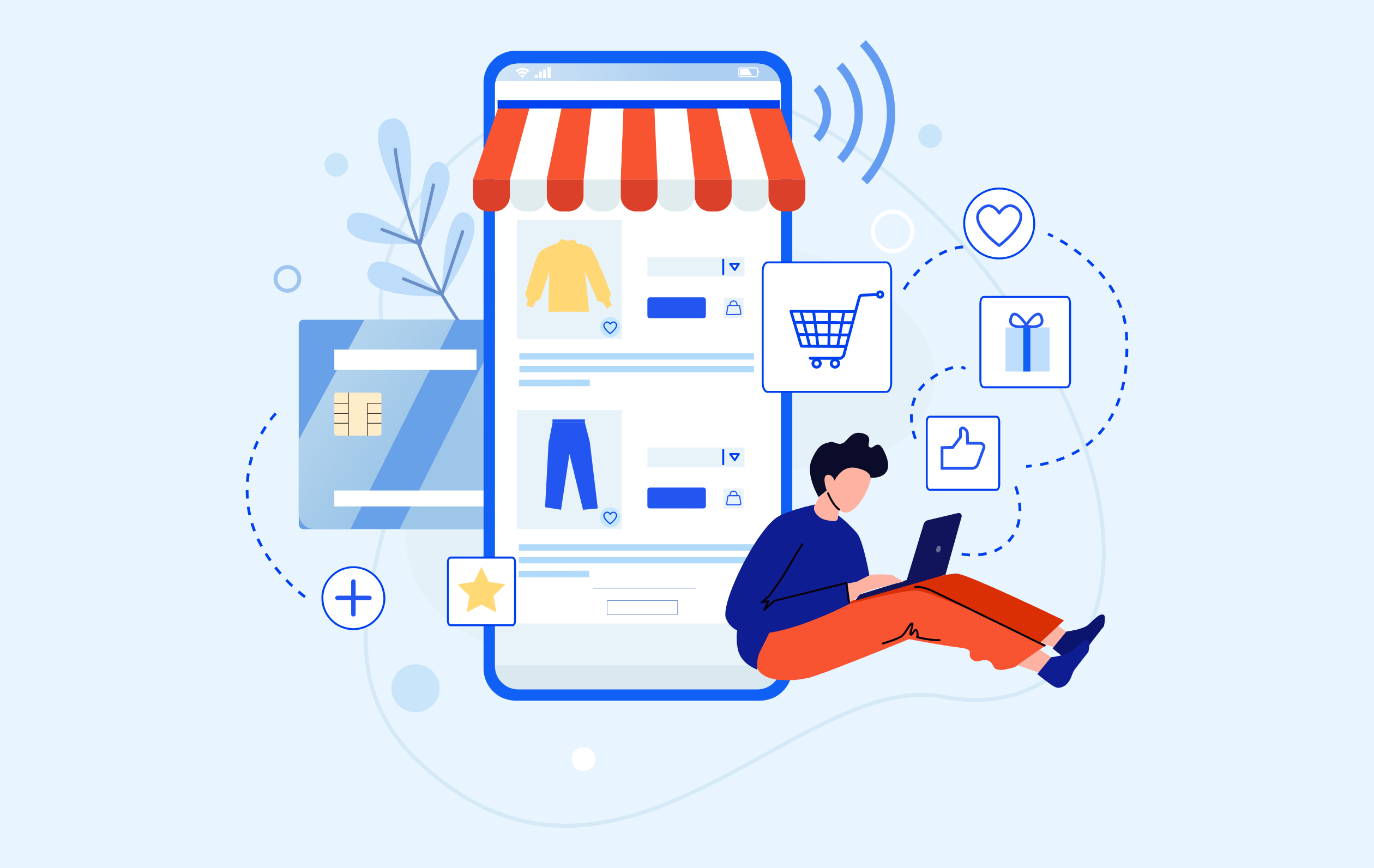 Illustration of a person sitting against the storefront and shopping on a laptop