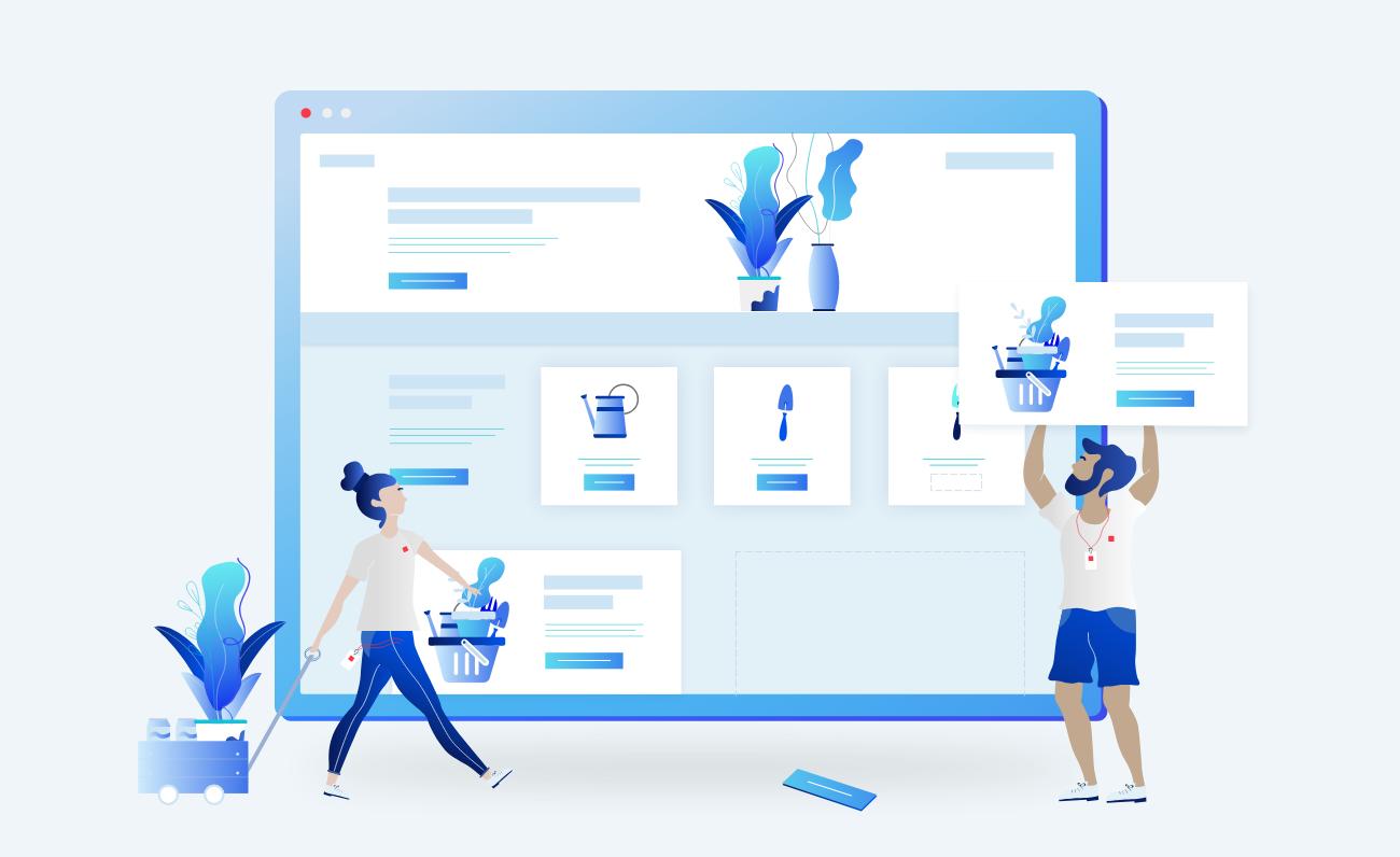 Illustration of building an ecommerce website