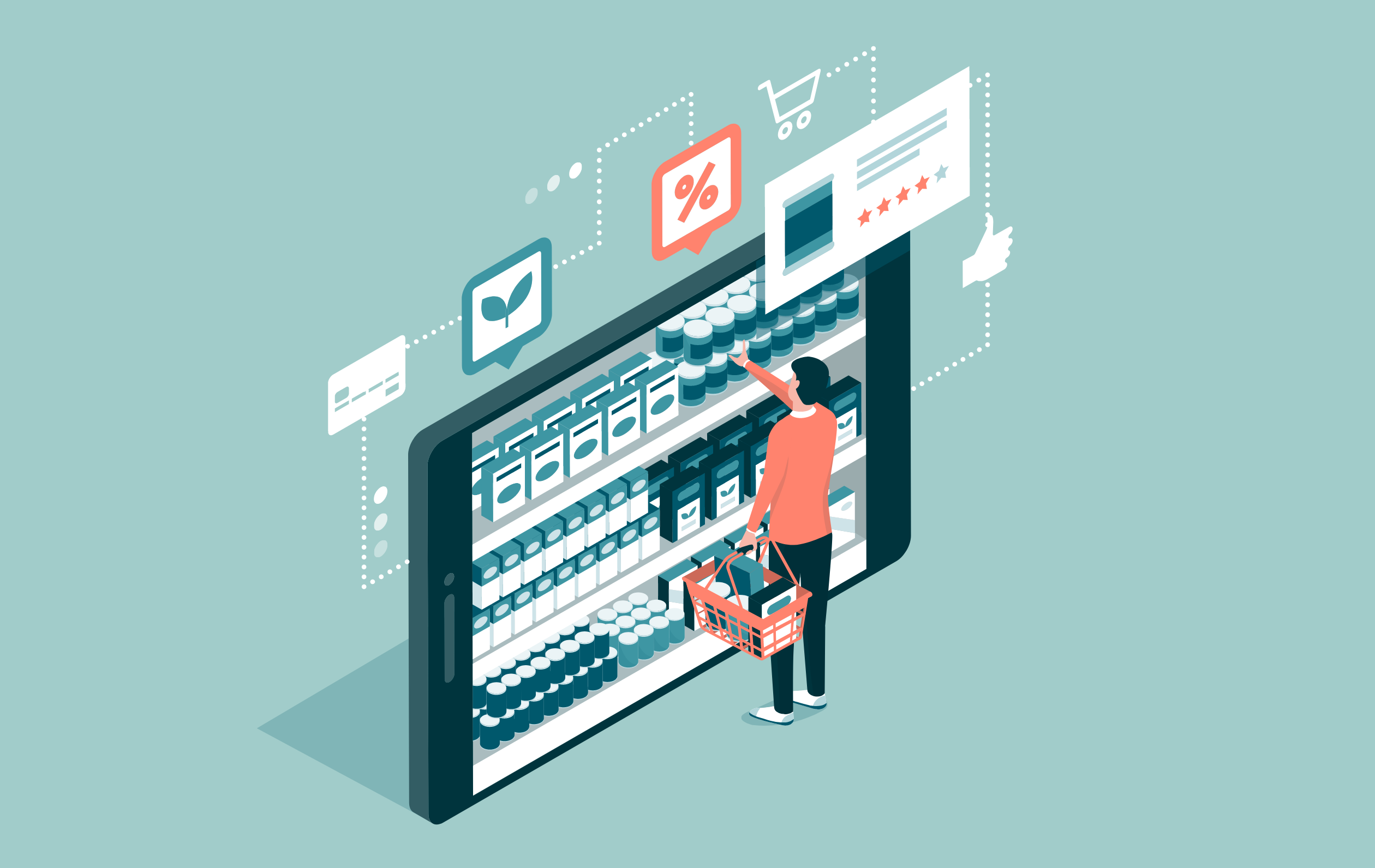 Illusration of a person shopping and picking items from the shelf that looks like a smart phone screen