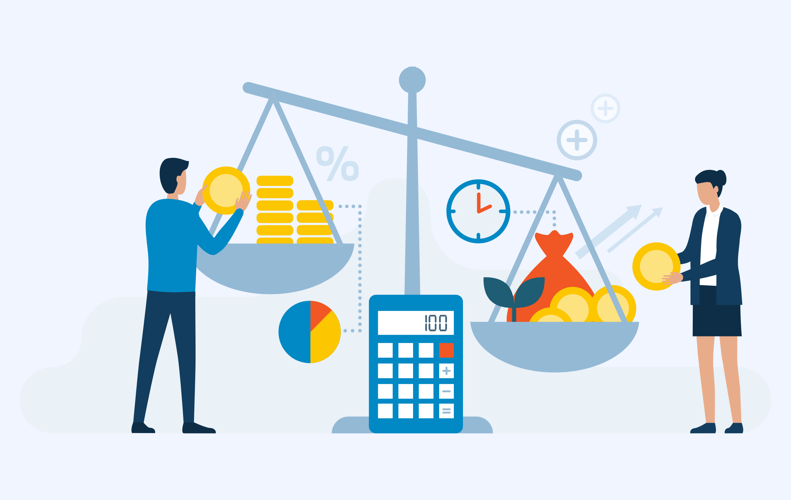 Illustration of people weighting coins on a scale