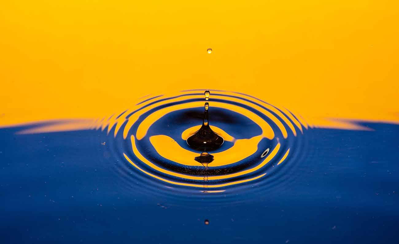 Drop of water rippling.