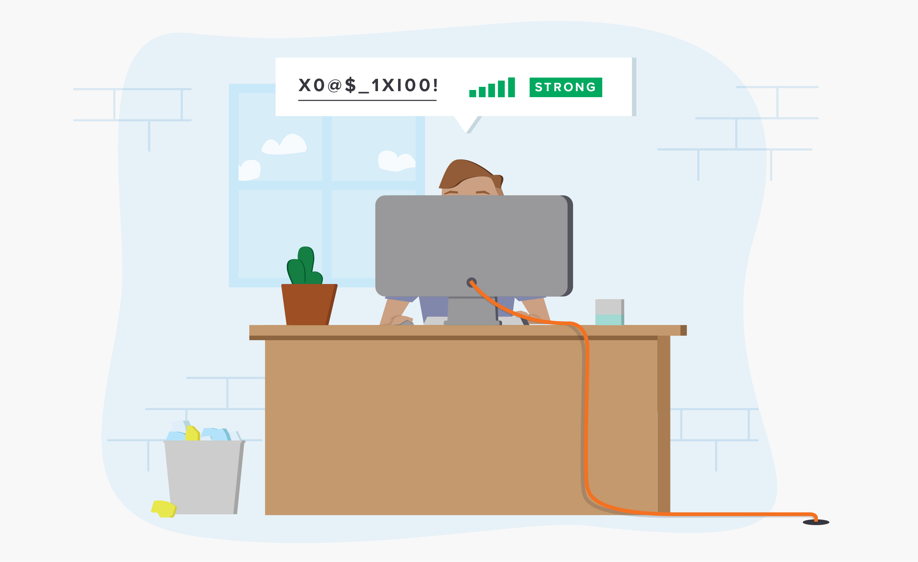Illustration of person sitting at desk behind computer