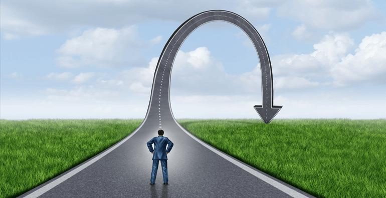 Illustration of man changing direction