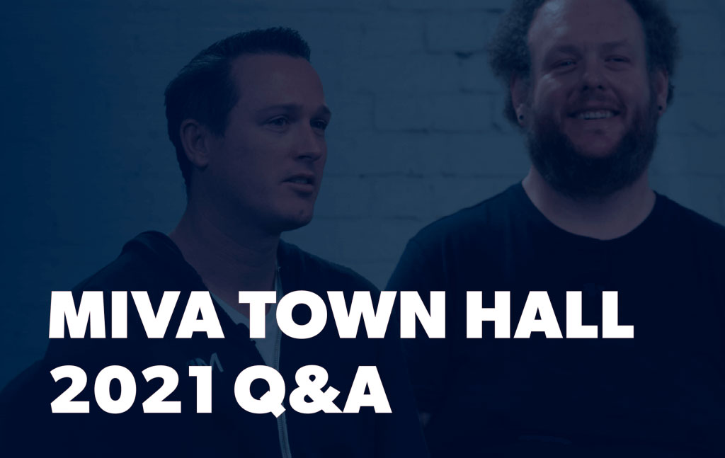 Rick Wilson and Brennan Heyde with text saying Miva Town Hall 2021 Q&A