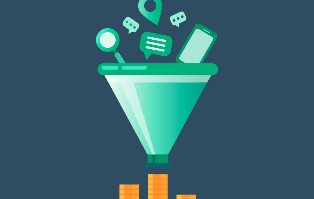 Illustration of web items falling into a funnel.