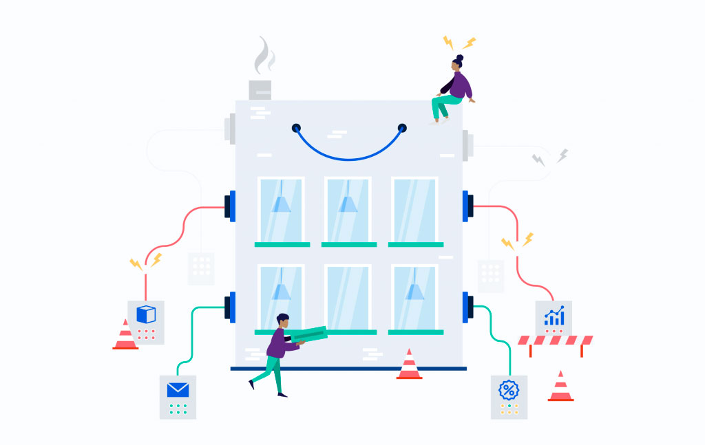 Illustration with wires coming out of a building.